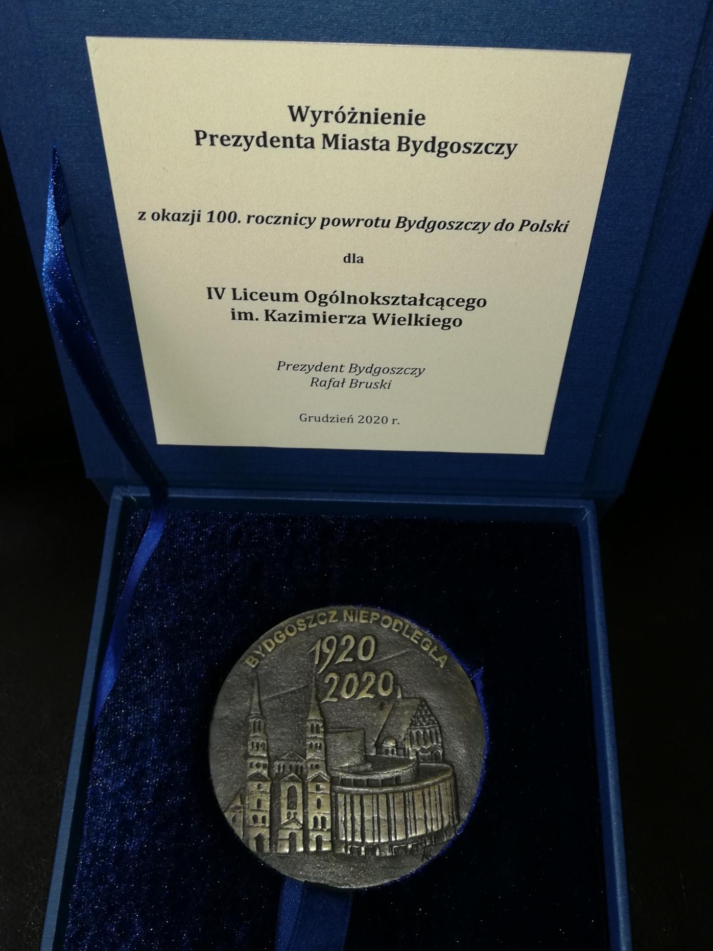Wyróżnienie Prezydenta Miasta Bydgoszczy
